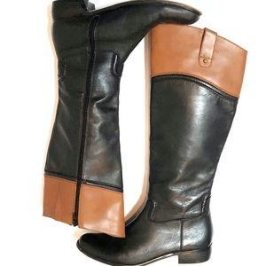 Corso Como Two-Tone Leather Riding Boots